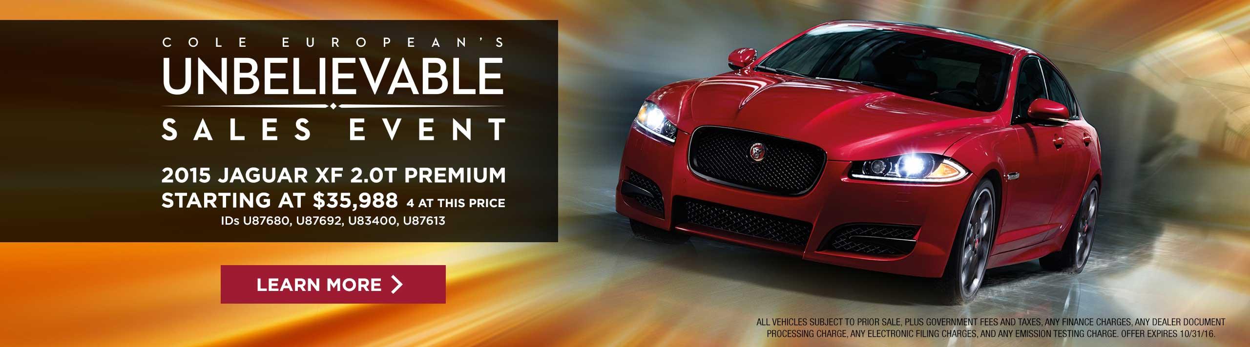 Jaguar - Unbelievable Sales Event