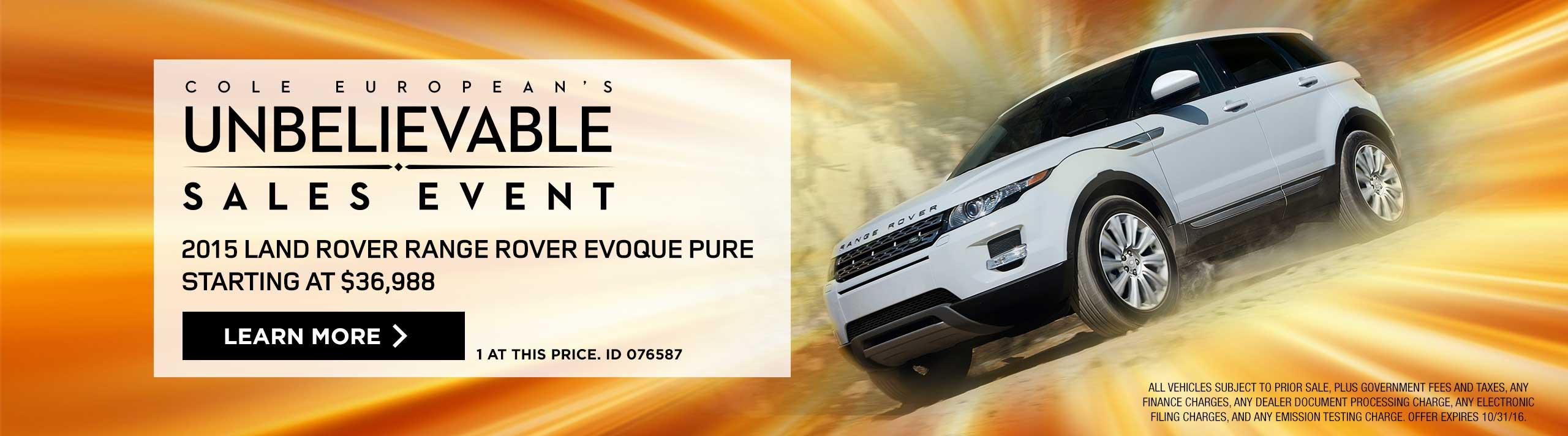 Land Rover - Unbelievable Sales Event